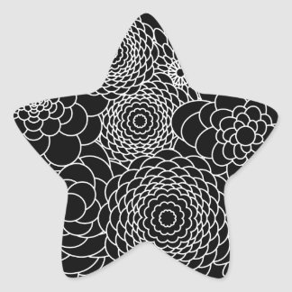 Elegant Black and White Modern Flowers Star Sticker