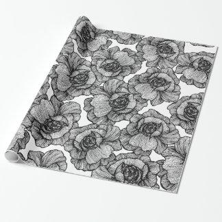 Elegant Black and White Modern Line Art Flowers