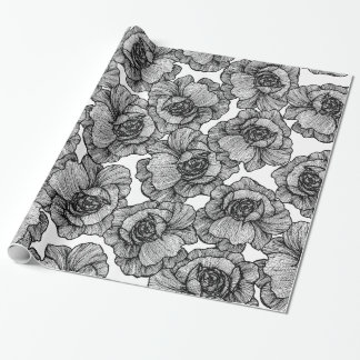 Elegant Black and White Modern Line Art Flowers Wrapping Paper