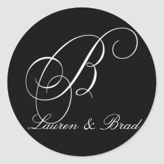 Elegant black and white monogram - initial B Classic Round Sticker