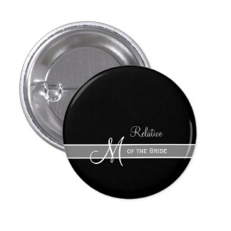 Elegant Black and White Monogram Wedding ID Button