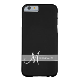 Elegant Black and White Monogram With Name Barely There iPhone 6 Case