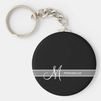 Elegant Black and White Monogram With Name Basic Round Button Key Ring