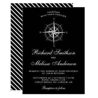 Elegant Black and White Nautical Compass Wedding Card