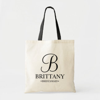 Elegant Black and White Personalized Bridesmaid Tote Bag