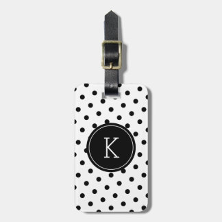 Elegant black and white polka dot monogram luggage tag
