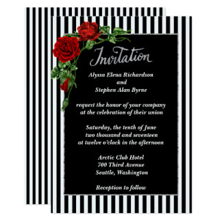 Elegant Black and White Red Rose Wedding Invitatio Card