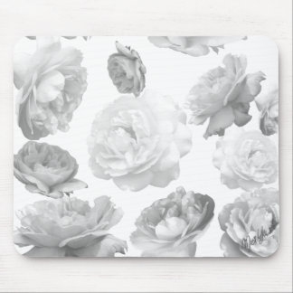 Elegant Black and White Roses Floral Mouse Pad
