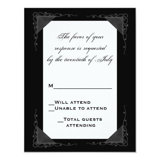 Elegant Black and White RSVP Card