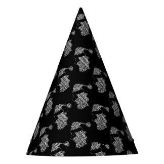 Elegant Black and White Santa Typography Christmas Party Hat