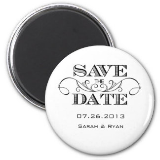 Elegant Black and White Save the Date Magnet