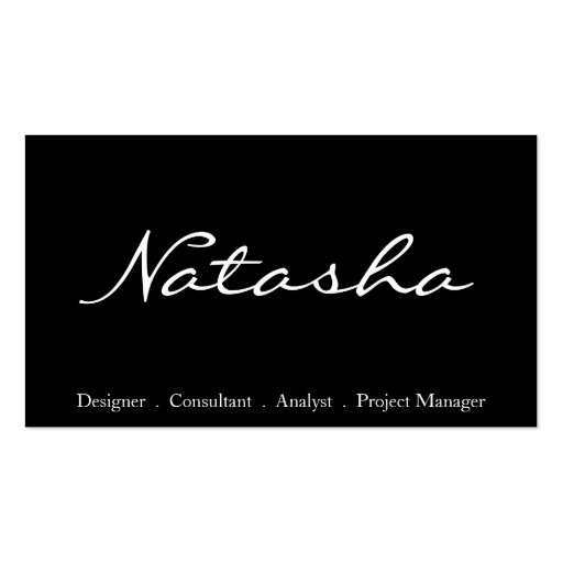 Elegant black and white script font business card zazzle for Good font for business cards