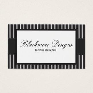 Elegant Black and White Stripe Business Card
