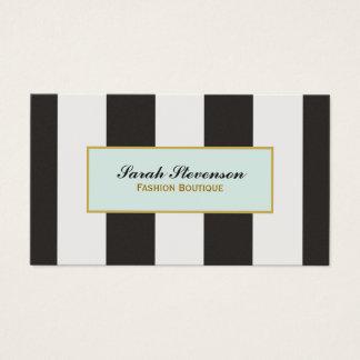 Elegant Black and White Stripes Fashion Boutique Business Card