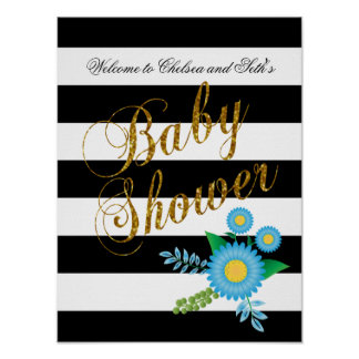 Elegant Black and White Stripes With Blue Floral Poster