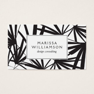 Elegant Black and White Tropical Palm Fronds Business Card