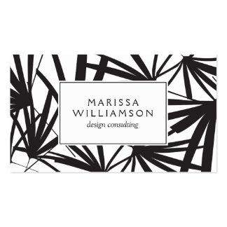 Elegant Black and White Tropical Palm Fronds Pack Of Standard Business Cards