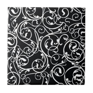 Elegant Black and White Vintage  Damask Pattern Small Square Tile