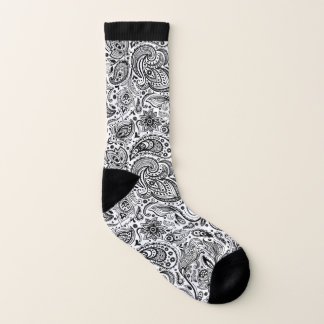 Elegant black and white vintage floral paisley 1
