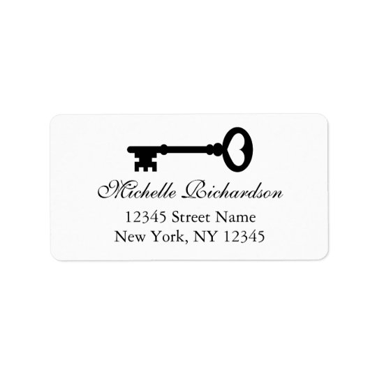 Elegant black and white vintage key address labels