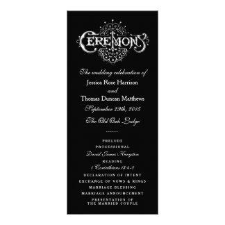 Elegant Black And White Wedding Ceremony Programs Personalised Rack Card