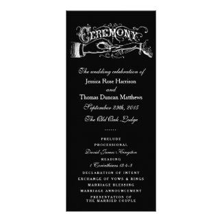 Elegant Black And White Wedding Ceremony Programs Rack Card