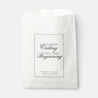 Elegant Black and White Wedding Favor Bag