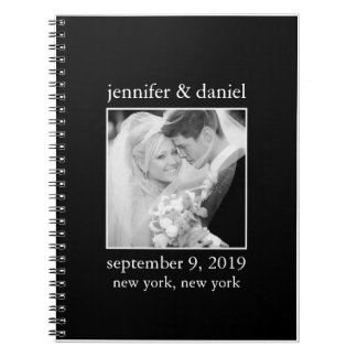 Elegant Black And White Wedding Guest Sign In Book Spiral Notebooks
