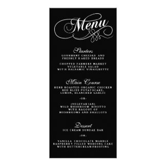 Elegant Black And White Wedding Menu Templates Customised Rack Card