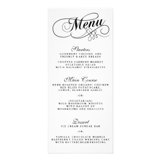 Elegant Black And White Wedding Menu Templates Rack Card Design