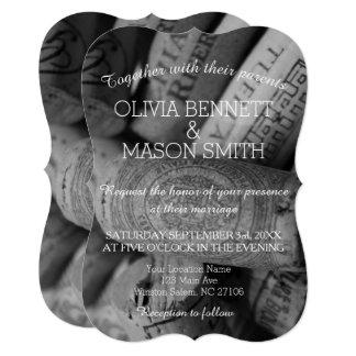 Elegant Black and White Wine Cork Wedding Card