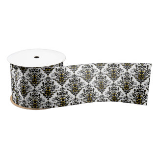 Elegant  black and white with touch of gold damask satin ribbon