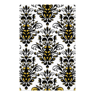Elegant  black and white with touch of gold damask stationery