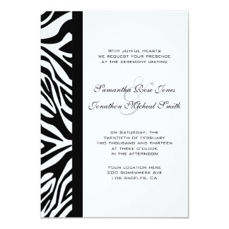 Elegant Black and White Zebra Custom Wedding 13 Cm X 18 Cm Invitation Card