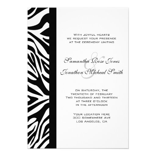 Elegant Black and White Zebra Custom Wedding Custom Announcement
