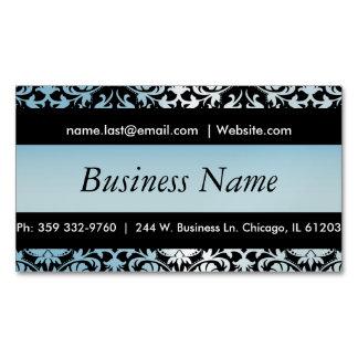Elegant Black & Aqua Blue Damask Design Magnetic Business Card