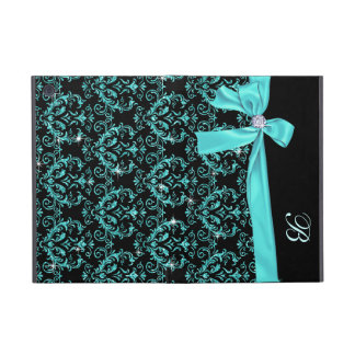 Elegant Black Aqua Damask Diamond Bow Monogram iPad Mini Covers