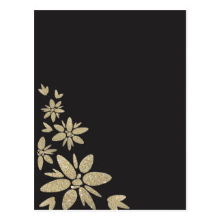 Elegant Black blank invite with gold flowers Postcard