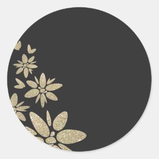 Elegant Black blank invite with gold flowers Round Sticker