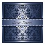 Elegant Black & Blue Damask Sweet16 Invite