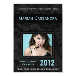 Elegant Black Blue  Floral Photo Graduation 13 Cm X 18 Cm Invitation Card