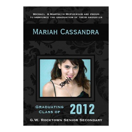 Elegant Black Blue  Floral Photo Graduation Custom Invite