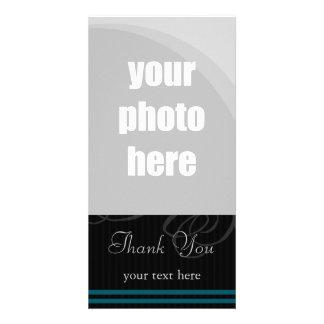 "Elegant Black/Blue ""Thank You"" Photo Card Template"
