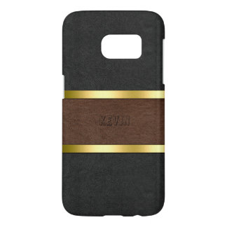 Elegant Black & Brown Leather Gold Accents