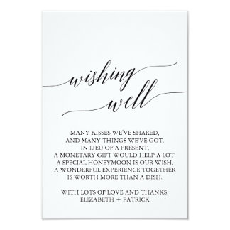 Elegant Black Calligraphy Wedding Wishing Well Card