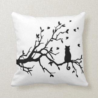 Elegant black cat cushion