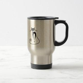 Elegant black cat damask vintage travel mug