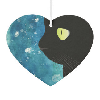 Elegant Black Cat Portrait in Blue Air Fresheners