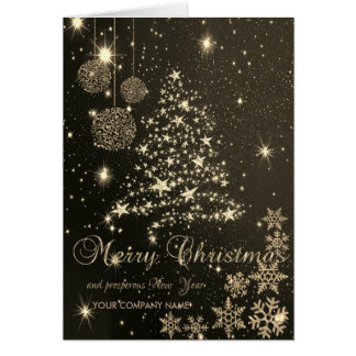 Elegant Black,Christmas Tree,Snowflakes,Corporate Card