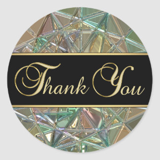 Elegant Black Color Metallic Glass Thank You Classic Round Sticker